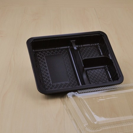 กล่องอาหาร 3 ช่อง PP สีดำ(S-403) + ฝา PET (25 ชิ้น/แพค)