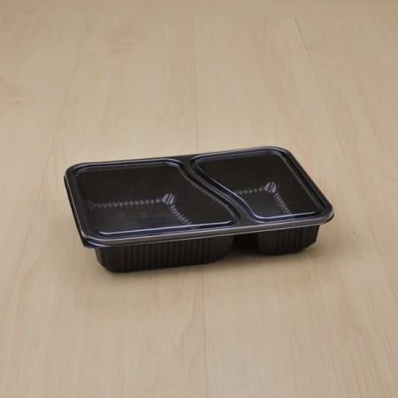 กล่องอาหาร PP ดำ 2 ช่อง (EX) + ฝา PET (50 ชิ้น/แพค)
