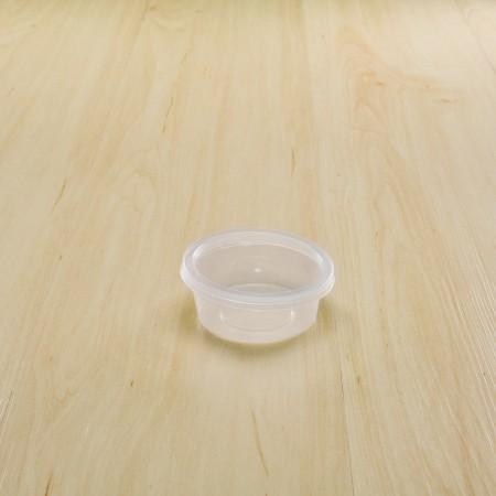 กล่องใส่อาหารทรงกลม PP ใส 70 ml+ฝา         (25ชิ้น/แพค)