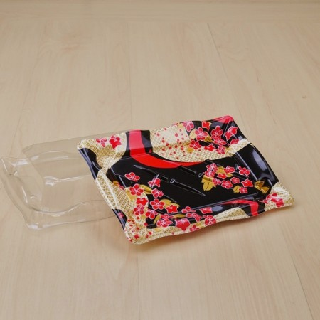 กล่องซูชิ HIPS-AMANO พร้อมฝาใส #WA8-2 (50ชิ้น/แพค)