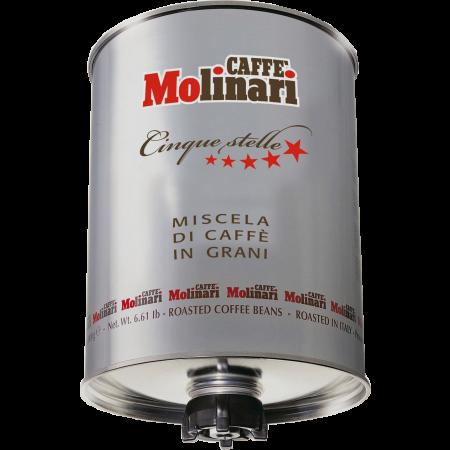 เมล็ดกาแฟอิตาลี คั่วกลาง เกรดพรีเมียม CAFFE' MOLINARI CINQUE STELLE (5 STARS) บรรจุถัง 3kg.
