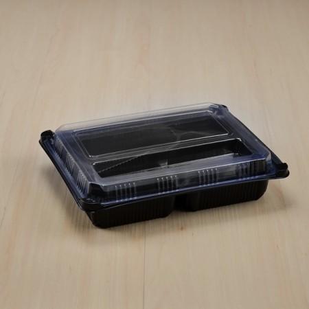 กล่องอาหาร PP ดำ 4 ช่อง (EX) + ฝา PET วางช้อน (25ชุด/ห่อ)