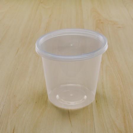 กล่องใส่อาหารทรงกลม PP ใส 750 ml+ฝา(25ชิ้น/แพค)