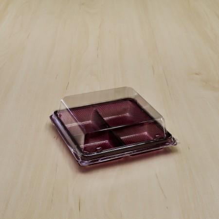 กล่องเบเกอรี่ 4 ช่องน้ำตาล TP-38             (50ชิ้น/แพค)