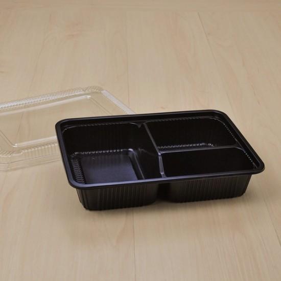 กล่องอาหาร 3 ช่อง PP สีดำ (S-403N) + ฝา PET (25ชิ้น/แพค)