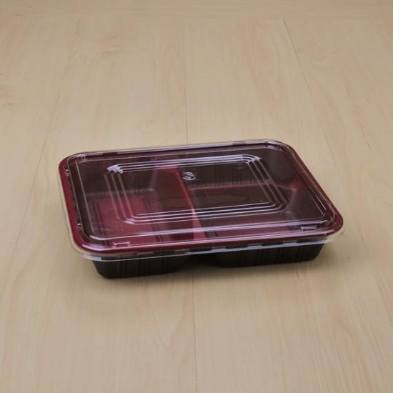 กล่องอาหาร PPแดง/ดำ 3ช่อง SB-L1 + ฝาใส (50 ชิ้น/แพค)