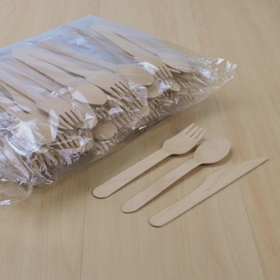 ช้อนไม้+ส้อมไม้+มีดไม้16cm. (1ห่อ50ชุด)