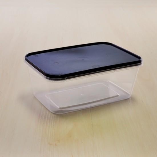กล่องอาหาร PPใส+ฝาดำเซฟตี้ซีล 1000 ml (25ชุด/ห่อ)