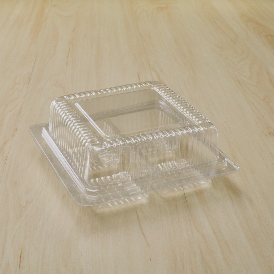 กล่องเบเกอรี่ PET 4 ช่อง ฝาพับใส (KP21)(100ชิ้น/แพค)