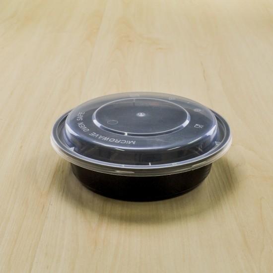 กล่องกลม PP ดำฝาโดม 450ml(50ชิ้น/แพค)