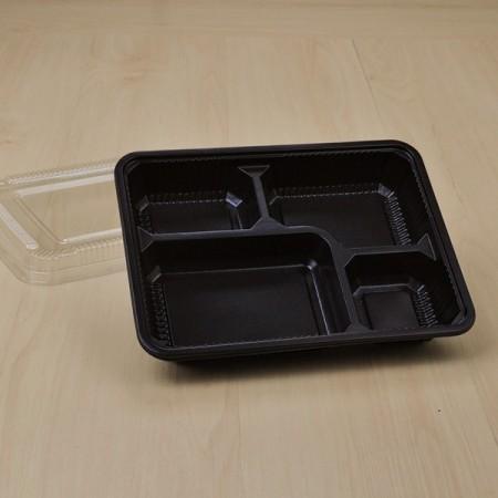 กล่องอาหาร 4 ช่อง PP ดำ (S-BENTO4-01) + ฝา PET (25 ชิ้น/แพค)