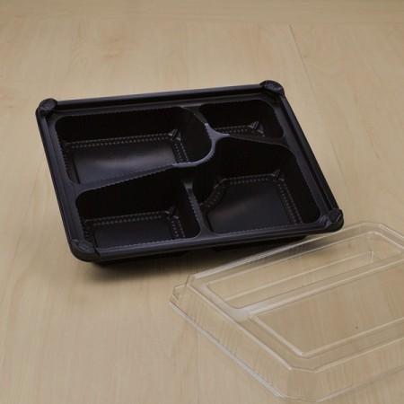 กล่องอาหาร PP ดำ 5 ช่อง #8305 + ฝา OPS (50 ชิ้น/แพค)