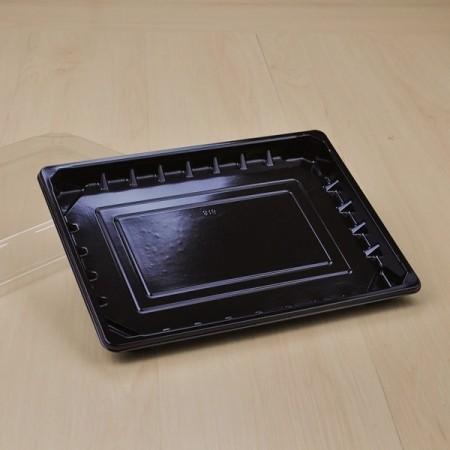 กล่องอาหารญี่ปุ่น HIPS-ดำ พร้อมฝาใส #816 (50ชิ้น/แพค)