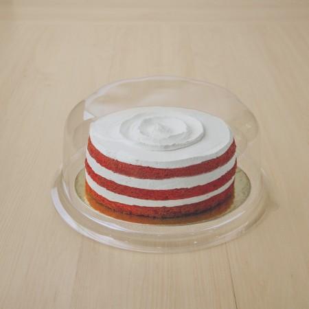 กล่องเค้กกลมฐานใส 3 ปอนด์+ฝาลอน (10ชิ้น/แพค)