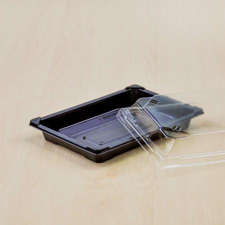 กล่องอาหารญี่ปุ่น HIPS สีดำ+ฝาใส OPS#813 (50ชิ้น/ห่อ)
