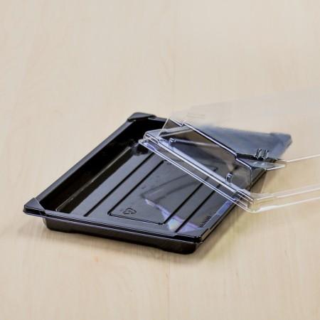 กล่องอาหารญี่ปุ่น HIPS สีดำ+ฝาใส OPS#815 (50ชิ้น/ห่อ)