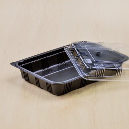 กล่องอาหาร PPดำ+ฝาใส#8520 (50ชิ้น/ห่อ)