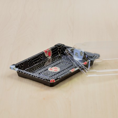 กล่องอาหารญี่ปุ่น HIPS ลาย Kamon + ฝาใส OPS#813 (50ชิ้น/ห่อ)