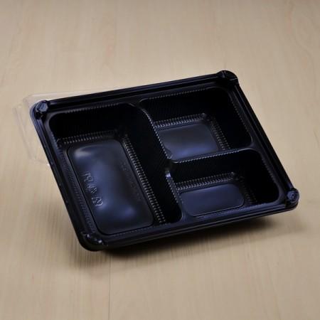 กล่องอาหาร PP ดำ 3 ช่อง (EX) + ฝา PET วางช้อน (25ชุด/ห่อ)