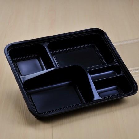 กล่องอาหาร PP ดำ 5 ช่อง (EX) + ฝา PET(25ชุด/ห่อ)