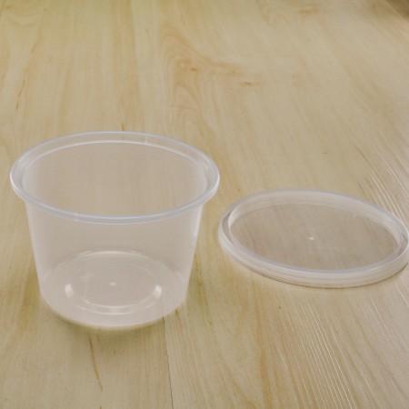 กล่องใส่อาหารทรงกลม PP ใส 540 ml+ฝา     (25ชิ้น/แพค)