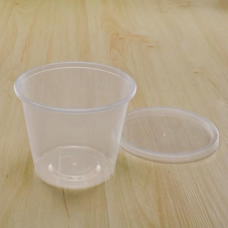 กล่องใส่อาหารทรงกลม PP ใส 650 ml+ฝา(25ชิ้น/แพค)