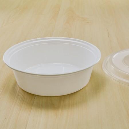 กล่องอาหารทรงกลม PPขาว+ฝาโดม 900 ml (ห่อ)(50ชิ้น/แพค)