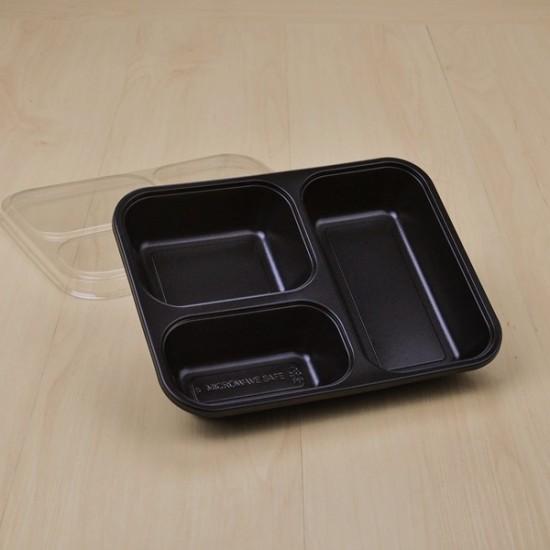 กล่องอาหาร PP ดำ 3 ช่อง + ฝา PET (25ชิ้น/แพค)