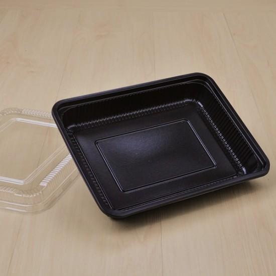 กล่องอาหาร 1 ช่อง PP สีดำ (S-401) + ฝา PET (25ชิ้น/แพค)