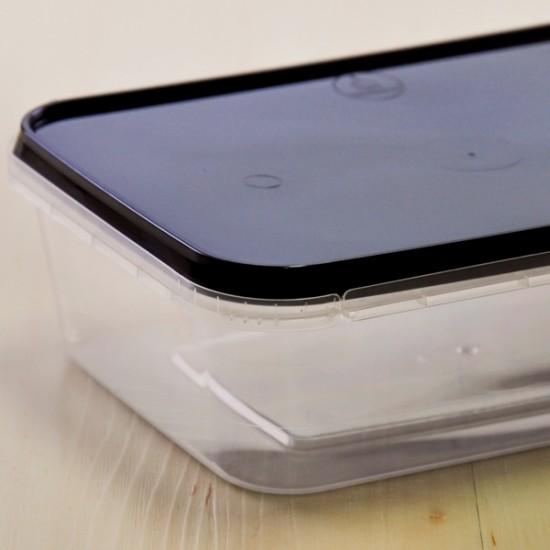 กล่องอาหาร PPใส+ฝาดำเซฟตี้ซีล 650 ml (25ชุด/ห่อ)