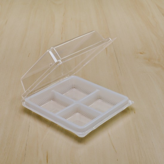 กล่องเบเกอรี่ 4 ช่องขาว TP-38 (50ชิ้น/แพค)